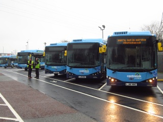 Electric buses - they run very quietly! (Photo: Soeren Steding)